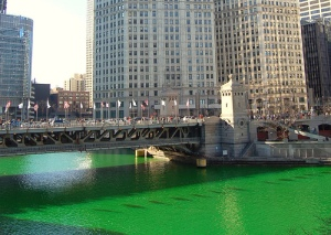 The Chicago River during St. Patrick's Day